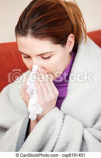 woman sneezing in the handkerchief - csp8191451