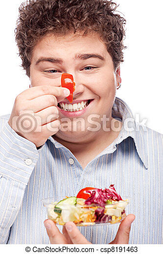 chubby man with fresh salad - csp8191463