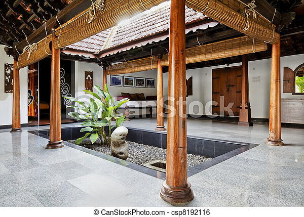 Stock Image Of Interior Design Of Courtyard In Kerala