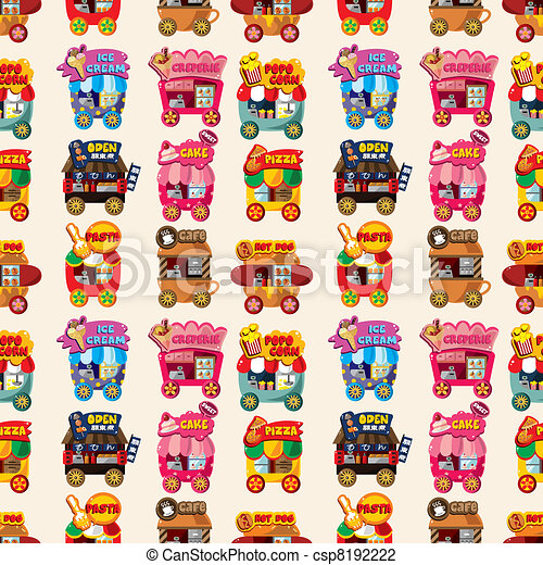 Cartoon market store car seamless pattern - csp8192222