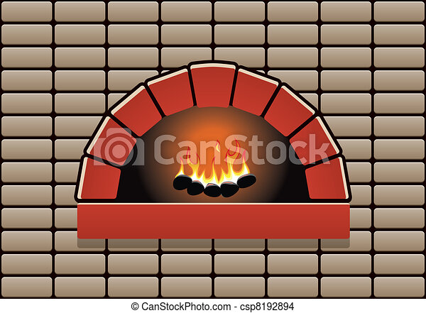 vector oven with burning fire - csp8192894