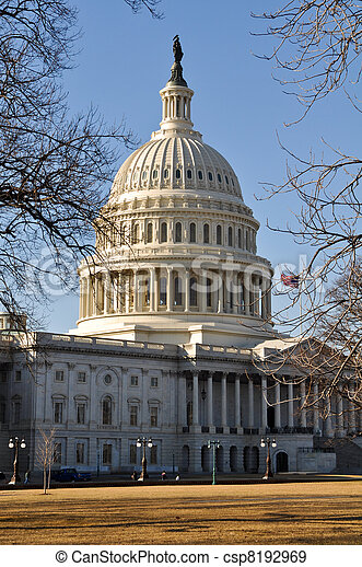 Capitol Hill Building in the Winter - csp8192969