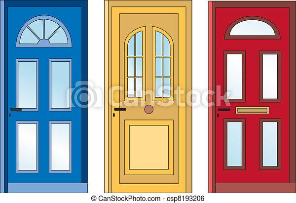 Clip art de vectores de azul amarillo rojo puertas - Dibujos de puertas ...