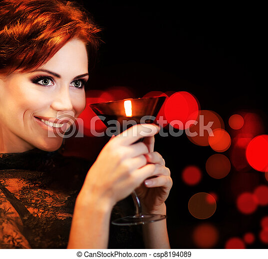 Beautiful female partying, celebrating holiday - csp8194089