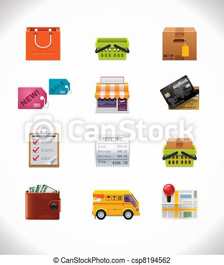 Vector shopping icon set - csp8194562