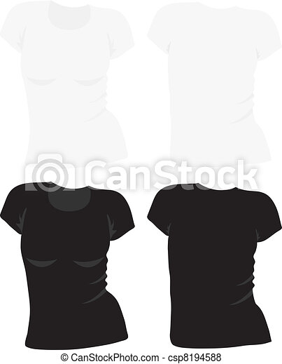 women's t-shirt template, vector - csp8194588