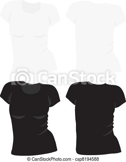 women's t-shirt template, vector - csp8194588