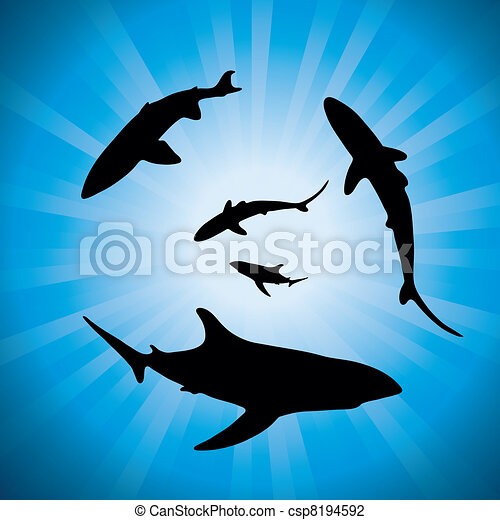 vector silhouettes of sharks underwater and sunlight - csp8194592