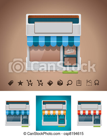 Vector shop icon with related picto - csp8194615