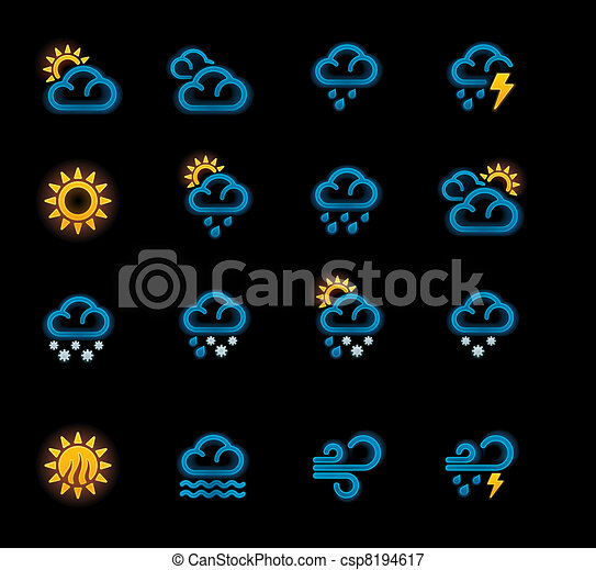 Vector weather forecast icons. P.1 - csp8194617