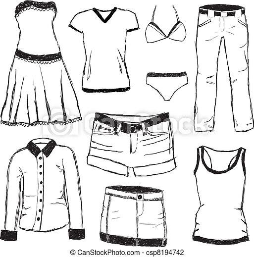 vektor illustration von gekritzel kleidung csp8194742 suchen sie clipart illustration. Black Bedroom Furniture Sets. Home Design Ideas