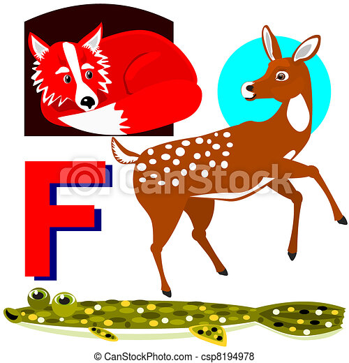 Animals That Start With The Letter F Vector of f fox, fawn, flounder ...