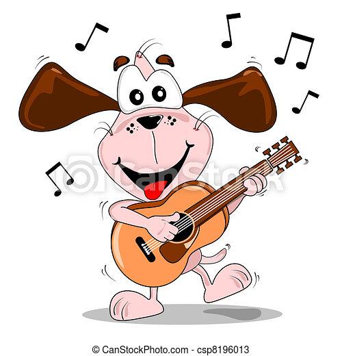 vecteurs de dessin anim233 chien jouer guitare a