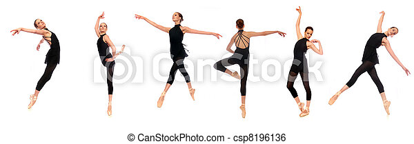 Ballet En Pointe Poses in Studio  - csp8196136