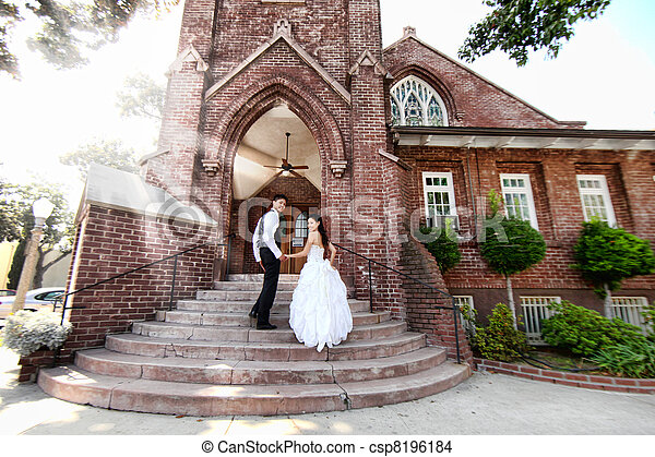 Young Wedding Couple Outdoors - csp8196184