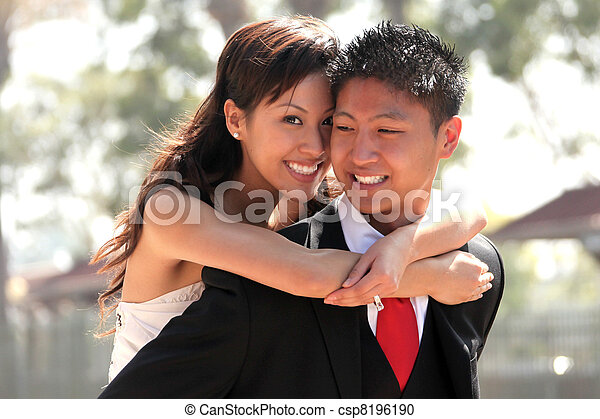 Young Wedding Couple Outdoors - csp8196190