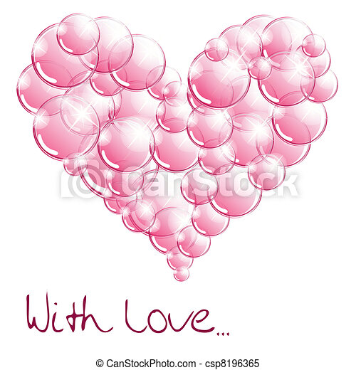 Clipart Vector of Soap bubbles In the form of heart csp8196365 ...