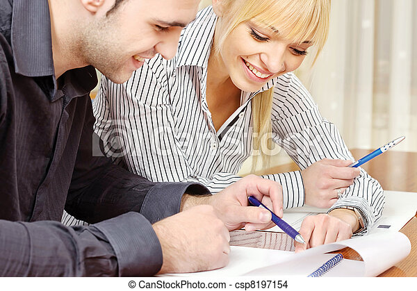 Young business couple work in office - csp8197154