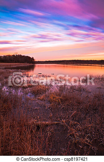 Pastel Sunrise at Lake Jacomo in Blue Springs, Missouri - csp8197421