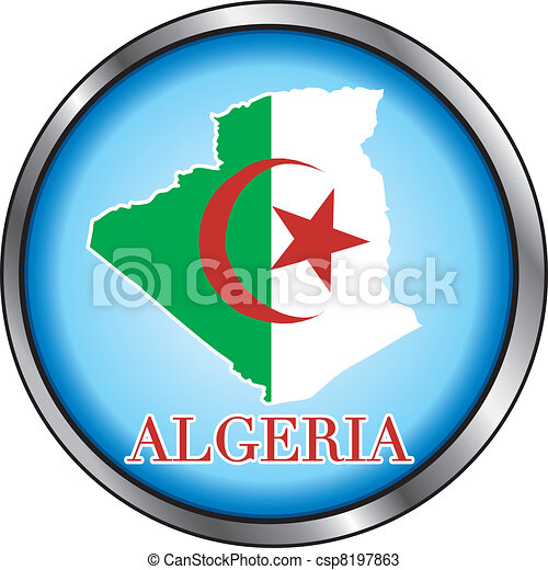 Algeria Round Button - csp8197863