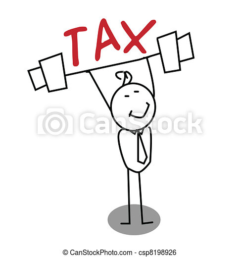 Strong Businessman up the Tax  - csp8198926