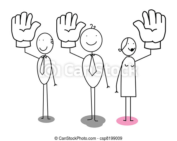 Businessman Voting Up Hand  - csp8199009