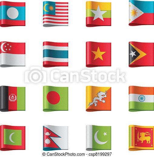 Vector flags. Asia, part 7 - csp8199297