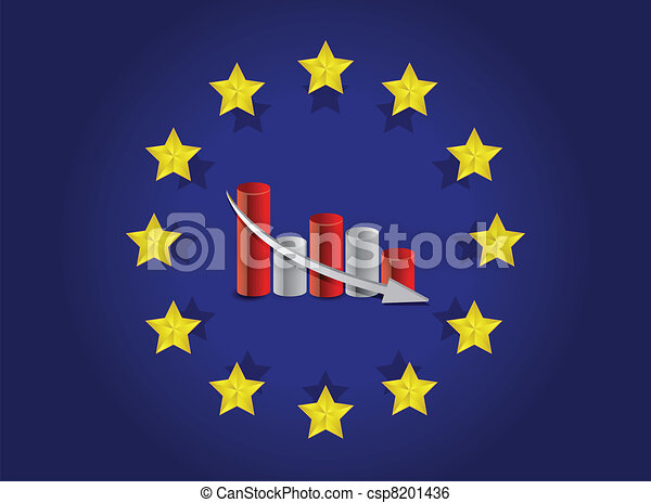 european union flag and falling - csp8201436