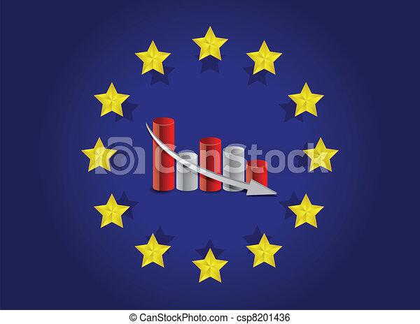 european union flag and falling - csp8201436