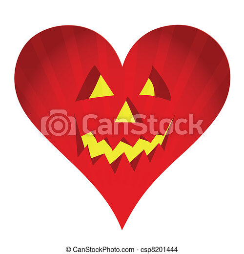 red pumpkin face heart illustration - csp8201444
