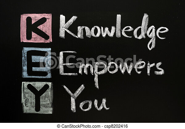 KEY acronym - Knowledge empowers you on a blackboard with words written in chalk. - csp8202416