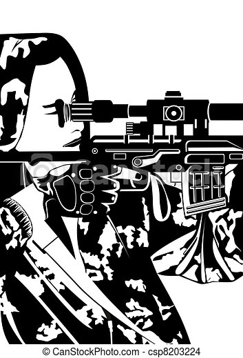 A sniper with a sniper rifle - csp8203224