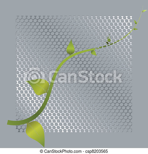 Vector illustration of green shoots and metal mesh - csp8203565