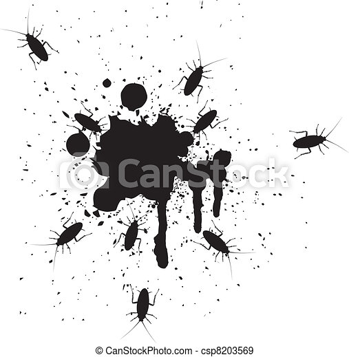 Vector illustration of spots and cockroaches - csp8203569