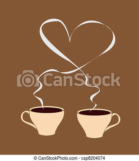 Hot coffee with heart-shaped steam - csp8204074