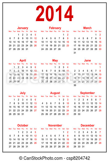 Calendário, 2014 - csp8204742