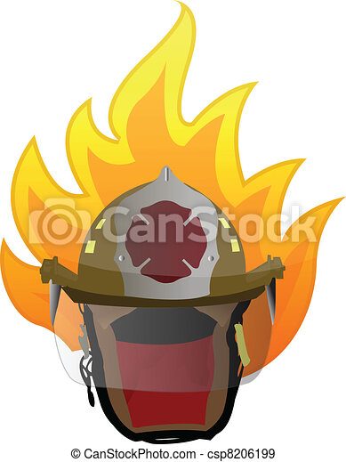 firefighter helmet on fire illustration design on white