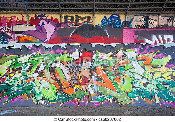 Graffity art at a gangway under a viaduct - csp8207002