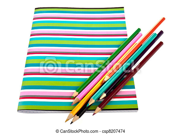 Exercise book with colorful pencils - csp8207474