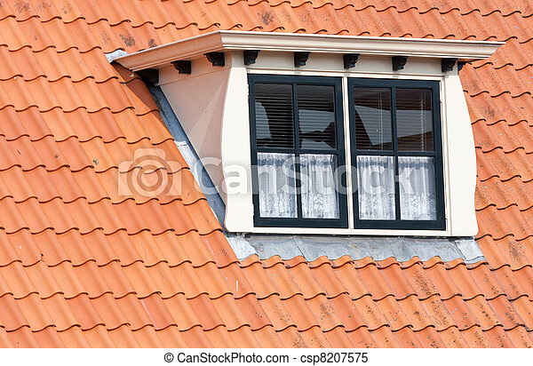 Typical Dutch roof with dormer and squared windows - csp8207575