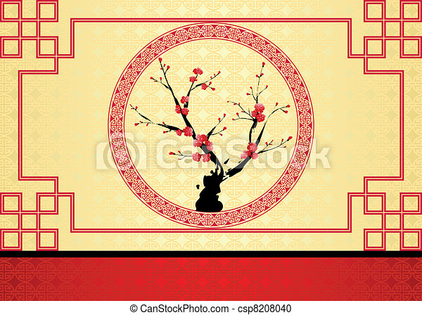 Chinese New Year greeting card - csp8208040