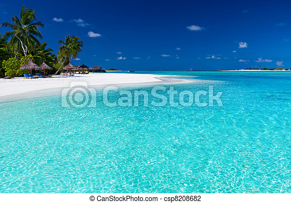Palm trees over stunning lagoon and white beach - csp8208682