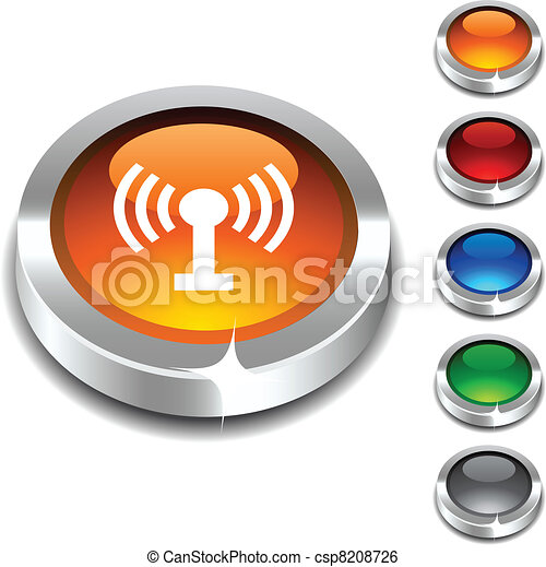 Radio 3d button. - csp8208726