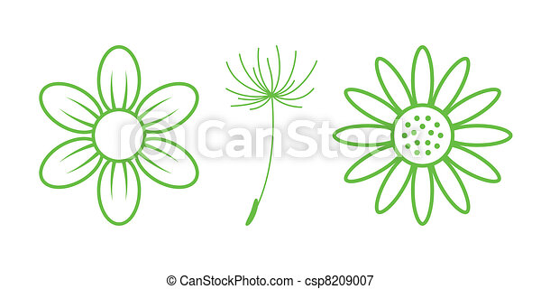Green Nature Icons. Part 9 - Flowers - csp8209007