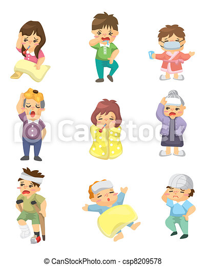 Cartoon Sick Character - csp8209578