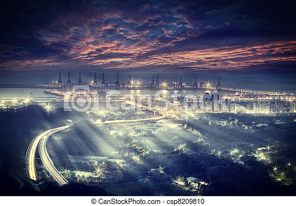 Taipei port's sunset and a highway  - csp8209810