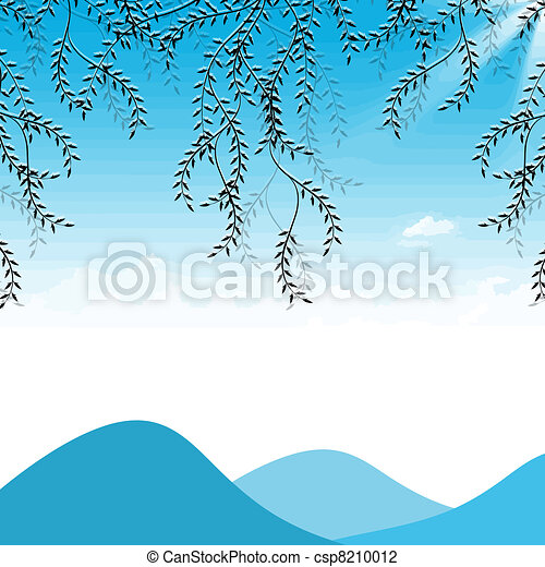Branch of willow, mountains and sky - csp8210012