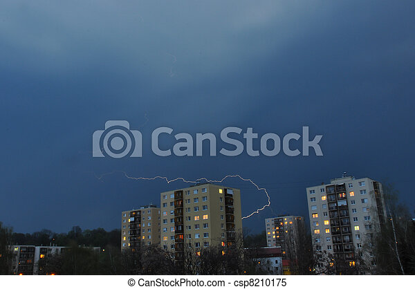 Thunder storm over block of flats - csp8210175