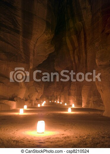 Night Petra show - amazing attraction - csp8210524