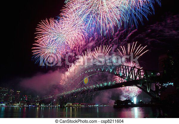 Sydney Harbour New Year's Eve NYE Fireworks - csp8211604